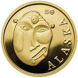 Investičná zlatá minca Royalty, 50FRANCS CFA Maska z regionu Amerika - Aljaška