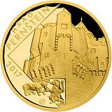 """Pamětní zlatá mince, 5000Kč Cyklus """"Hrady"""" Pernštejn proof"""