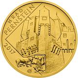 """Pamětní zlatá mince, 5000Kč Cyklus """"Hrady"""" Pernštejn stand"""