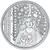 "Pamätná strieborná minca, 10EUR ""Strážni anjeli - Rafael"" stand"