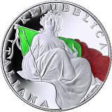 Pamětní stříbrná mince, 5EUR + 2EUR 70. výročí vzniku italské ústavy v sadě oběžných mincí 2018 stand