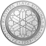 Pamätná strieborná minca, 200Kč Založenie kláštora Zlatá koruna stand