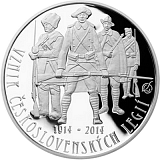 Pamätná strieborná minca, 200Kč Založenie československých légií proof