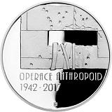 Pamätná strieborná minca, 200Kč Operácia Anthropoid proof