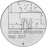 Pamätná strieborná minca, 200Kč Operácia Anthropoid stand