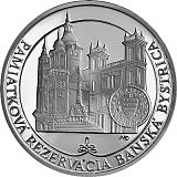 Pamätná strieborná minca, 20EUR Pamiatková rezervácia Banská Bystrica stand