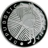"""Pamätná strieborná minca, 10EUR """"Séria talianskeho umenia - Bronzové sochy na Sardínii"""" proof"""