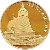 """Zlatá investiční medaile """"Skvosty architektury Slovenska - Dřevěné kostelíky"""" Hervartov"""