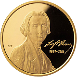 Pamětní zlatá mince, 50000HUF Ferenc Liszt piedfort 2011