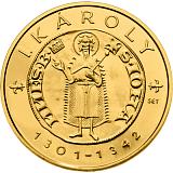 Pamětní zlatá mince, 10000HUF Karel I. 2012 piedfort