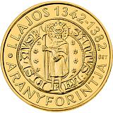 Pamětní zlatá mince, 50000HUF Ludvík I. Veliký 2013 piedfort