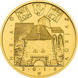 """Pamětní zlatá mince, 5000Kč Cyklus """"Hrady"""" Zvíkov stand"""