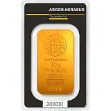 Investiční zlato, slitek Argor Heraeus 50 g