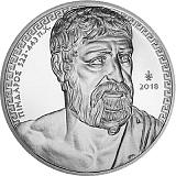 """Pamětní stříbrná mince, 10EUR """"Řecká kultura - historici - Pindaros"""" proof"""