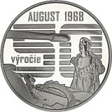 Pamětní stříbrná mince, 10EUR Nenásilný spontánní odpor občanů proti vstupu vojsk Varšavské smlouvy v srpnu 1968 stand