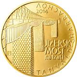 Pamätná zlatá minca, 5000Kč Jizerské most na trati Tanvald-Harrachov stand