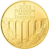 Pamětní zlatá mince, 5000Kč Železniční most v Žampachu stand