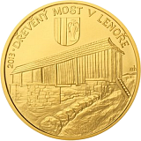 Pamětní zlatá mince, 5000Kč Dřevěný most v Lenoře stand