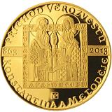 Pamätná zlatá minca, 10000Kč Príchod vierozvestcov Konštantína a Metoda proof