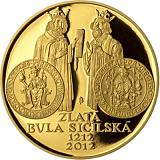 Pamätná zlatá minca, 10000Kč Zlatá bula sicílska proof