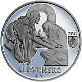 Pamätná strieborná minca, 10EUR Zoborské listiny - 900. výročie vzniku prvej z dvoch listín stand