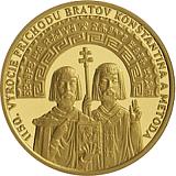 Zlatá investičná medaila 1150. výročie príchodu Konštantína a Metoda na Veľkú Moravu