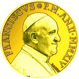 Pamětní zlatá mince, 100EUR Pontifikát papeže Františka 2014 - Evangelisté: Svatý Marek