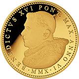 Pamětní zlatá mince, 100EUR Pontifikát papeže Benedikta XVI. 2010 - Sixtinská kaple - Poslední soud