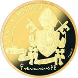 """Pamětní zlatá mince, 50EUR Pontifikát papeže Františka 2017 - """"Bazilika sv. Antonína v Padově"""""""