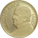 Pamětní zlatá mince, 50EUR Pontifikát papeže Františka 2014 - 450. výročí úmrtí Michelangela