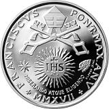 """Pamětní stříbrná mince, 10EUR Pontifikát papeže Františka 2017 - """"25. Světový den nemoci"""""""