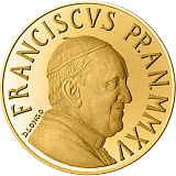 Pamětní zlatá mince, 10EUR Pontifikát papeže Františka 2015 - křest