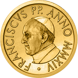 Pamětní zlatá mince, 10EUR Pontifikát papeže Františka 2014 - křest