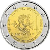 """Pamětní mince, 2EUR Pontifikát papeže Františka 2017 - """"1950. výročí umučení sv. Petra a sv. Pavla"""" stand"""