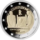 Pamätná minca, 2EUR 70. výročie vzniku talianskej ústavy stand