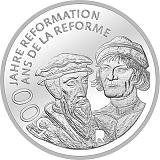 """Pamětní stříbrná mince, 20CHF """"500 let od reformace"""" stand"""