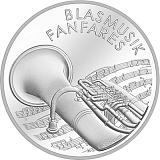 """Pamětní stříbrná mince, 20CHF """"Dechové kapely"""" proof"""