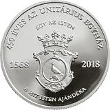 Pamětní stříbrná mince, 10000HUF 450. výročí Unitariánské církve proof