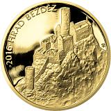 """Pamětní zlatá mince, 5000Kč Cyklus """"Hrady"""" Bezděz stand"""