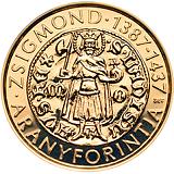 Pamětní zlatá mince, 50000HUF Zlatý Florin Zikmunda Lucemburského stand
