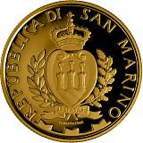 """Sada pamätných zlatých mincí, 50EUR a 20EUR """"Architektonické skvosty San Marína: zámky Montegiardino a Faetano"""" proof"""