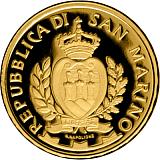 """Pamětní zlatá mince, 2SCUDI """"Architektura v San Marinu: Kostel sv. Marie ve Valdragone"""" proof"""