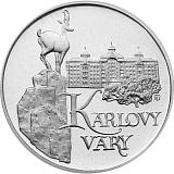 Pamětní stříbrná mince, 50Kčs Karlovy Vary stand