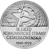 Pamätná strieborná minca, 50Kčs 30. výročie IX. zjazdu KSČ stand
