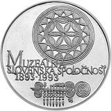 Pamětní stříbrná mince, 100Kčs Sté výročí založení Muzeální slovenské společnosti stand