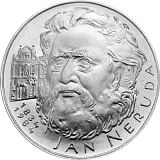 Pamětní stříbrná mince, 100Kčs Jan Neruda stand