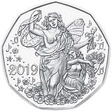 """Pamětní stříbrná mince, 5EUR """"Novoroční mince 2019"""" stand"""