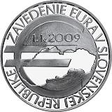 Pamětní stříbrná mince, 10EUR Zavedení eura na Slovensku - 10. výročí proof