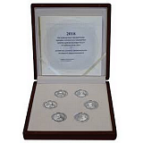 """Sada strieborných pamätných mincí, 6EUR """"Prominentní grécki ekonómovia"""" proof"""