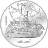 """Pamětní stříbrná mince, 20CHF """"Parník Blümlisalp"""" proof"""